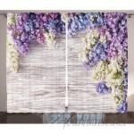 East Urban Home Lilac Flowers Bouquet Rustic Home Decor Graphic Print Room Darkening Rod Pocket Curtain Panels ESTN1966