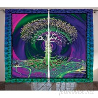 East Urban Home Nature Digital Psychedelic Tree of Life with Turning Gothic Background Mystery Display Graphic Print Text Semi-Sheer Rod Pocket Curtain Panels EABN8049