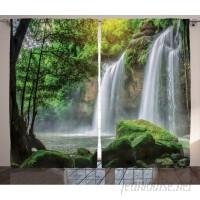 East Urban Home Waterfall Decor Graphic Print Room Darkening Rod Pocket Curtain Panels ESTN2409