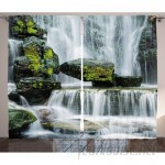 East Urban Home Waterfall Majestic Waterfall Blocked with Massive Rocks with Moss on Them Graphic Print Text Semi-Sheer Rod Pocket Curtain Panels EABN8193