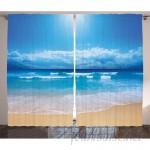 Latitude Run Coney Beach Seascape Theme Landscape of the Beach and the Cloudy Sky in Summer Digital Print Graphic Print Text Semi-Sheer Rod Pocket Curtain Panels LRUN5071