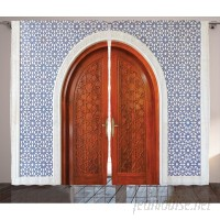 Red Barrel Studio Williston Moroccan Antique Wooden Door of Asian Architecture with Star Form Oriental Belief Picture Graphic Print Text Semi-Sheer Rod Pocket Curtain Panels RBRS2646