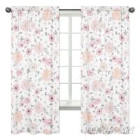 Sweet Jojo Designs Floral Rod Pocket Window Curtain Panels JJD7194