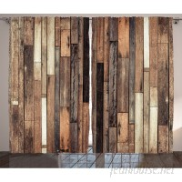 Union Rustic Herman Wooden Brown Old Hardwood Floor Plank Grunge Lodge Garage Loft Natural Rural Graphic Artsy Print Graphic Print Text Semi-Sheer Rod Pocket Curtain Panels UNRS2199