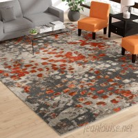 Bungalow Rose Annabel Gray/Orange Area Rug BGLS4813