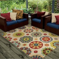 Latitude Run Maen Neutral Cream Indoor/Outdoor Area Rug LDER3166