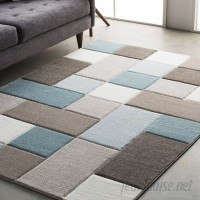 Wrought Studio Mott Street Modern Geometric Carved Teal/Brown Area Rug VRKG2611