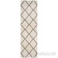 Mercury Row Duhon Ivory/Gray Shag Area Rug MCRW6762