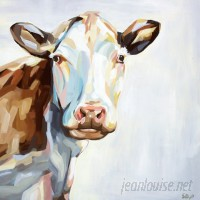 GreenBox Art Farm Cow by Emily Drummond Painting Print on Wrapped Canvas GNBX2581