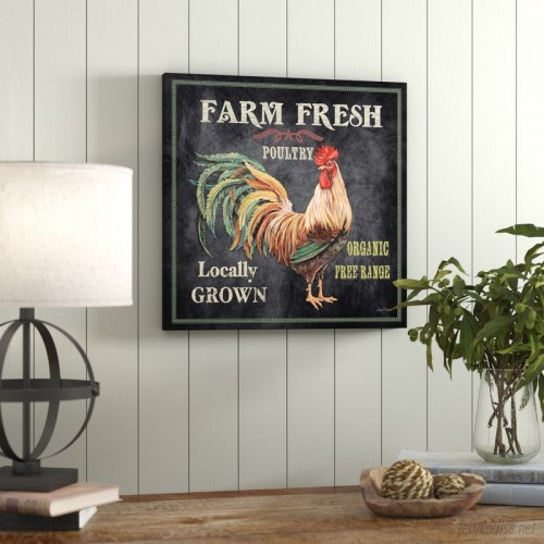 Laurel Foundry Modern Farmhouse 'Farm Fresh Rooster' by Jean Plout Graphic Art on Wrapped Canvas LFMF2507