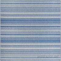 Beachcrest Home Anguila Stripe Blue/Gray Indoor/Outdoor Area Rug BCHH1511