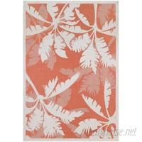 Beachcrest Home Tomie Coastal Flora Ivory/Orange Indoor/Outdoor Area Rug BCHH4876