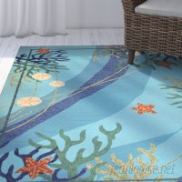 Highland Dunes Coeymans Underwater Blue Coral and Starfish Indoor/Outdoor Area Rug HLDS3526