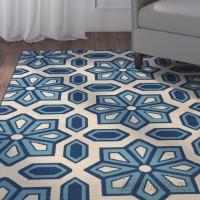 Three Posts Eldridge Ivory/Blue Indoor/Outdoor Area Rug THPS8617