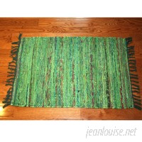 Bay Isle Home One-of-a-Kind Linmore Over-Dyed Hand-Woven Green Area Rug HOJE1163