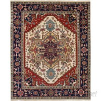 Bloomsbury Market One-of-a-Kind Briggs Hand Knotted Wool Cream/Red Fringe Area Rug BLMT5854