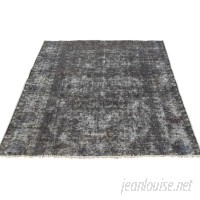 Bloomsbury Market One-of-a-Kind Govan Vintage Overdyed Hand-Knotted Charcoal Black Area Rug BLMS7629