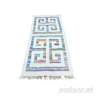 Bungalow Rose One-of-a-Kind Flat Weave Kilim Hand-Knotted Ivory/Blue Area Rug RGRG2589