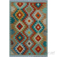 Bungalow Rose One-of-a-Kind Kratzerville Kilim Carmine Hand-woven Wool Rust/Blue Area Rug BGLS2877
