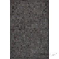 Latitude Run One-of-a-Kind Klahr Hand-Woven Cowhide Black Area Rug STPF1098