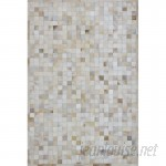 Latitude Run One-of-a-Kind Klahr Hand-Woven Cowhide Off White Area Rug STPF1101