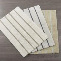 Gracie Oaks Lessman Cotton Tufted Striped Bath Rug GRCS4436
