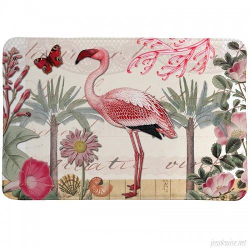 LauralHome Botanical Flamingo Mat LAOM1307