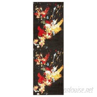 Wrought Studio Andreasen Abstract Splash Black/Red/Yellow Area Rug VRKG8062