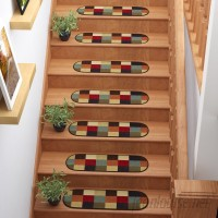 Andover Mills Galesburg Checker Oval Black/Red Stair Tread ANDV3333
