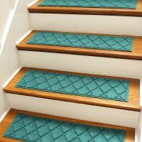 Bungalow Flooring Aqua Shield Aquamarine Argyle Stair Tread WDK1640