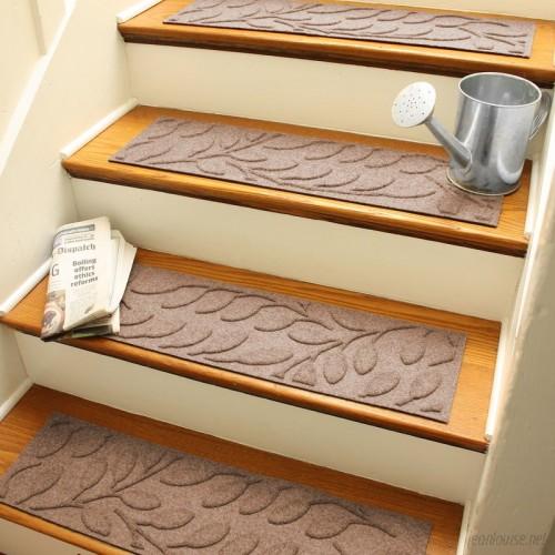 Bungalow Flooring Aqua Shield Medium Brown Brittany Leaf Stair Tread WDK1446