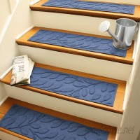 Bungalow Flooring Aqua Shield Navy Brittany Leaf Stair Tread WDK1456