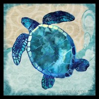 Buy Art For Less 'Ocean Sea Turtle - Colorful Blue Green Coastal Nautical Sea Life' by Jill Meyer Framed Graphic Art BYAR2550