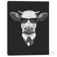 DesignArt 'Funny Cow in Suit with Glasses' Graphic Art on Wrapped Canvas DOSK3929