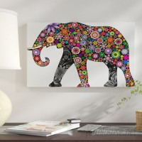 East Urban Home 'Cheerful Elephant' Graphic Art Print on Canvas EAAE8416