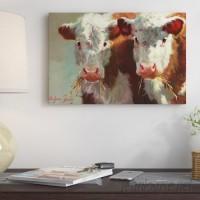 East Urban Home 'Cow Belles' Painting Print on Canvas ESUR6776