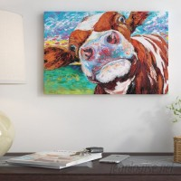 East Urban Home 'Curious Cow I' Graphic Art Print on Wrapped Canvas ESUR2468