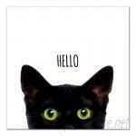 East Urban Home 'Curious Hello Black Cat' Graphic Art Print on Canvas ESUM1252