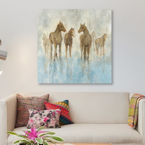East Urban Home 'Horses' Print on Canvas ERBH3349