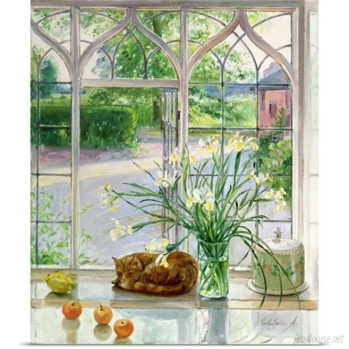 Great Big Canvas 'Irises and Sleeping Cat, 1990' by Timothy Easton Painting Print GBCN5182