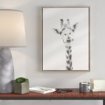 Ivy Bronx 'Giraffe Black and White Portrait' Framed Drawing Print on Wrapped Canvas IVBX2569