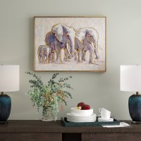 Ivy Bronx 'Metallic Elephant Family' Framed Graphic Art Print on Canvas IVYB4731