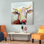 Latitude Run Colorful Bessie the Cow Painting Print LATR5439
