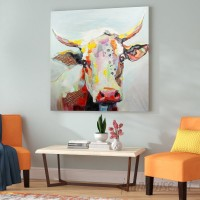 Latitude Run Colorful Bessie the Cow Painting Print LATR5439