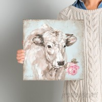Laurel Foundry Modern Farmhouse French Farmhouse Series: Cow with Rose II Painting Print on Wrapped Canvas LRFY1799