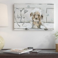 Three Posts 'Bubble Bath Puppy' Oil Painting Print on Wrapped Canvas TRPT4895
