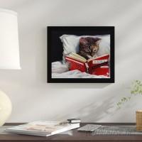 Winston Porter 'Late Night Thriller Cat Reading to Kill a Mockingbird' Framed Graphic Art Print on Wood WNPR8299