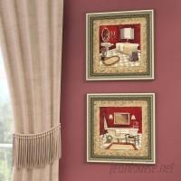 Astoria Grand Salon Rouge' 2 Piece Framed Acrylic Painting Print Set Under Glass ATGD3731