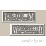August Grove 'Classic Gray Laundry Signs on Wood-panel Style Background' 2 Piece Framed Graphic Art Print Set AGTG9438