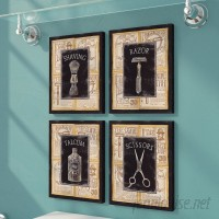 Red Barrel Studio 'Vintage Barber Shop Art Prints Shave Scissors' 4 Piece Graphic Art Print Set on Wrapped Canvas GHGH1002